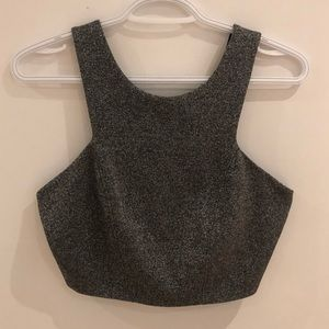 TOPSHOP Sparkly Silver Cropped Tank